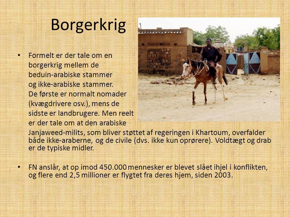 Borgerkrig • Formelt er der tale om en borgerkrig mellem de beduin-arabiske stammer og ikke-arabiske stammer. De første er normalt nomader (kvægdriver