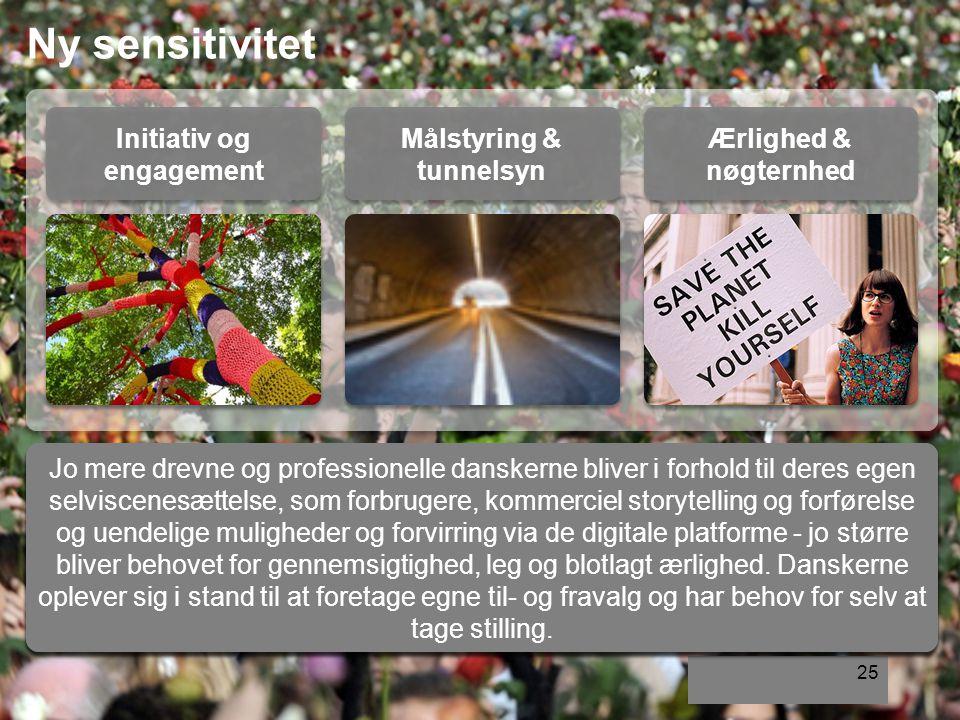 25 Initiativ og engagement Målstyring & tunnelsyn Ærlighed & nøgternhed Ny sensitivitet Danskerne er optagede af at skabe forandring, dér hvor de tror