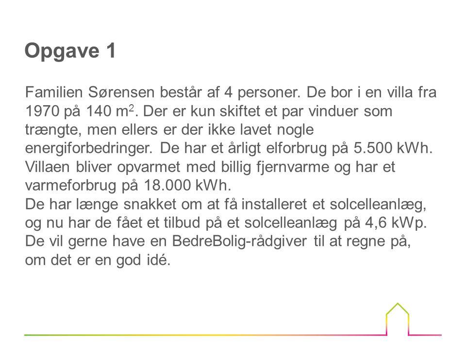 Opgave 1 Familien Sørensen består af 4 personer.De bor i en villa fra 1970 på 140 m 2.