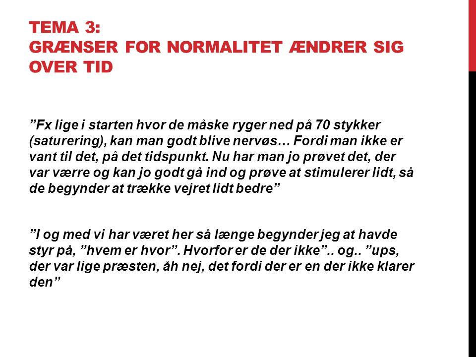 """TEMA 3: GRÆNSER FOR NORMALITET ÆNDRER SIG OVER TID """"Fx lige i starten hvor de måske ryger ned på 70 stykker (saturering), kan man godt blive nervøs… F"""