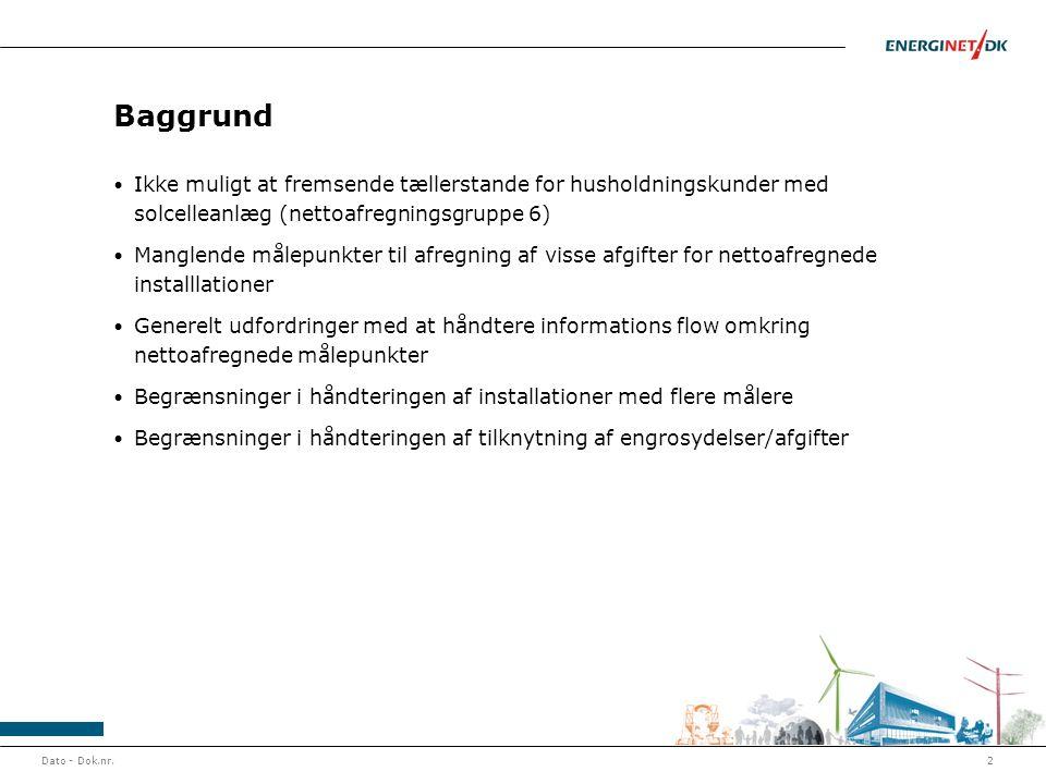 Baggrund • Ikke muligt at fremsende tællerstande for husholdningskunder med solcelleanlæg (nettoafregningsgruppe 6) • Manglende målepunkter til afregn