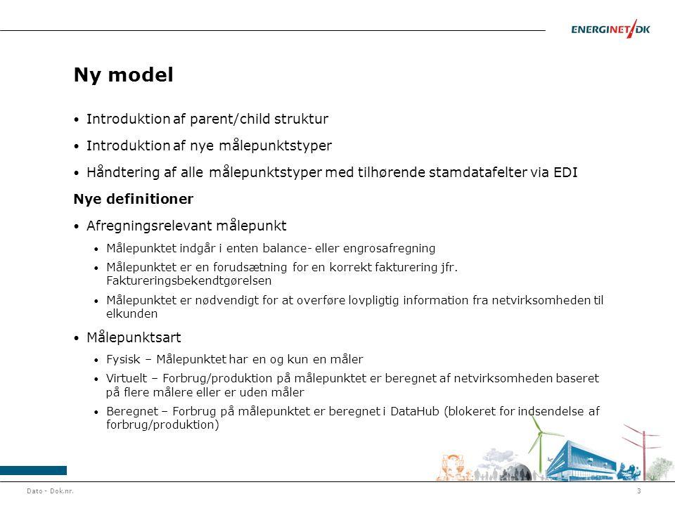 Ny model • Introduktion af parent/child struktur • Introduktion af nye målepunktstyper • Håndtering af alle målepunktstyper med tilhørende stamdatafel