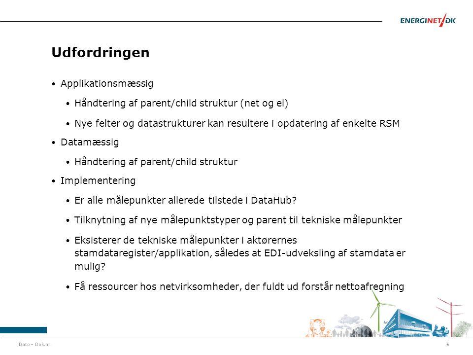 Udfordringen • Applikationsmæssig • Håndtering af parent/child struktur (net og el) • Nye felter og datastrukturer kan resultere i opdatering af enkel