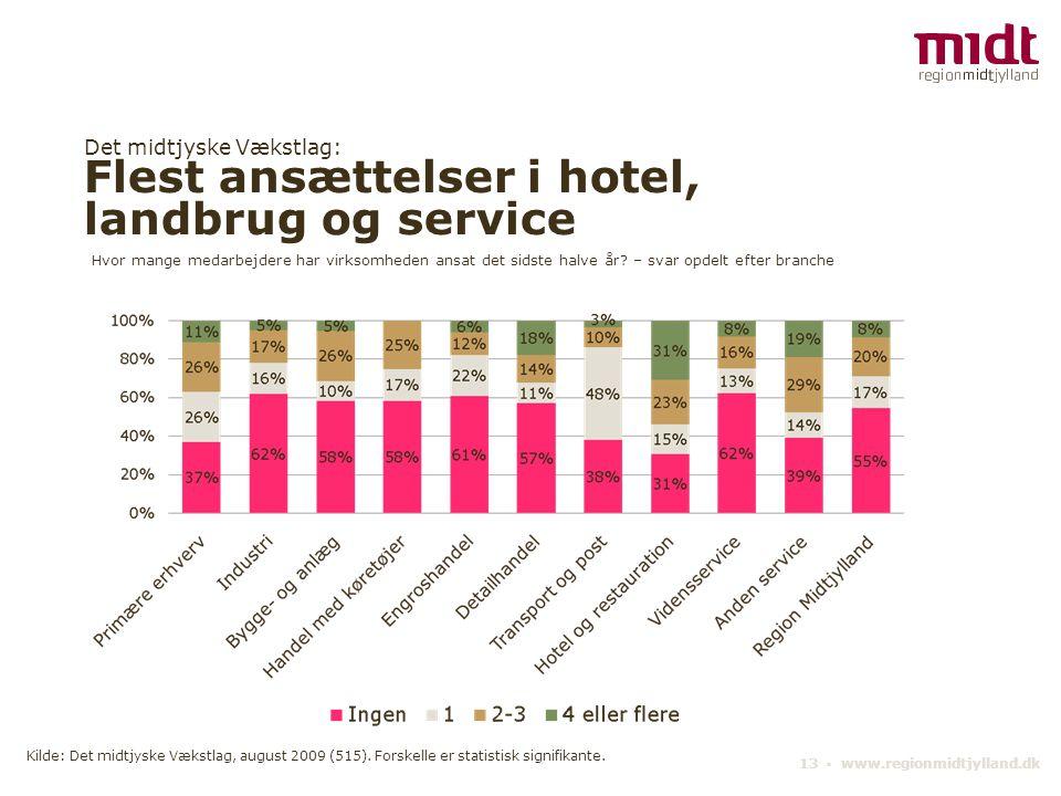 Det midtjyske Vækstlag: Flest ansættelser i hotel, landbrug og service 13 ▪ www.regionmidtjylland.dk Hvor mange medarbejdere har virksomheden ansat de