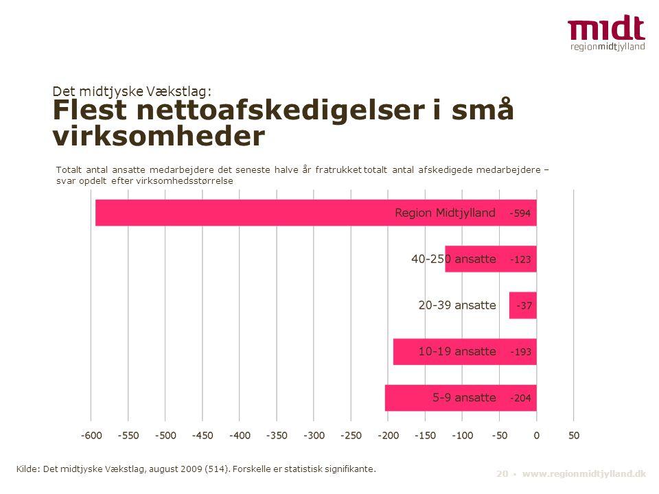 Det midtjyske Vækstlag: Flest nettoafskedigelser i små virksomheder 20 ▪ www.regionmidtjylland.dk Totalt antal ansatte medarbejdere det seneste halve
