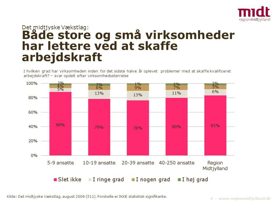 Det midtjyske Vækstlag: Både store og små virksomheder har lettere ved at skaffe arbejdskraft 4 ▪ www.regionmidtjylland.dk I hvilken grad har virksomh