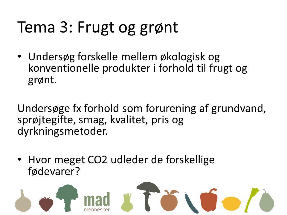 Tema 3: Frugt og grønt • Undersøg forskelle mellem økologisk og konventionelle produkter i forhold til frugt og grønt.