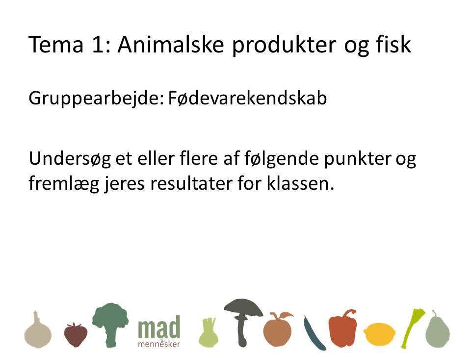 Tema 1: Animalske produkter og fisk Gruppearbejde: Fødevarekendskab Undersøg et eller flere af følgende punkter og fremlæg jeres resultater for klassen.