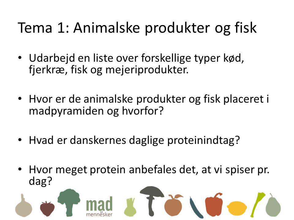Tema 1: Animalske produkter og fisk • Udarbejd en liste over forskellige typer kød, fjerkræ, fisk og mejeriprodukter.