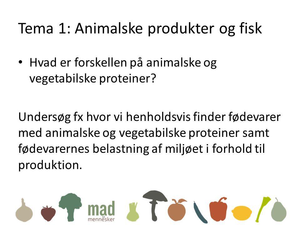 Tema 1: Animalske produkter og fisk • Hvad er forskellen på animalske og vegetabilske proteiner.