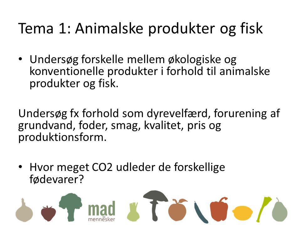 Tema 1: Animalske produkter og fisk • Undersøg forskelle mellem økologiske og konventionelle produkter i forhold til animalske produkter og fisk.