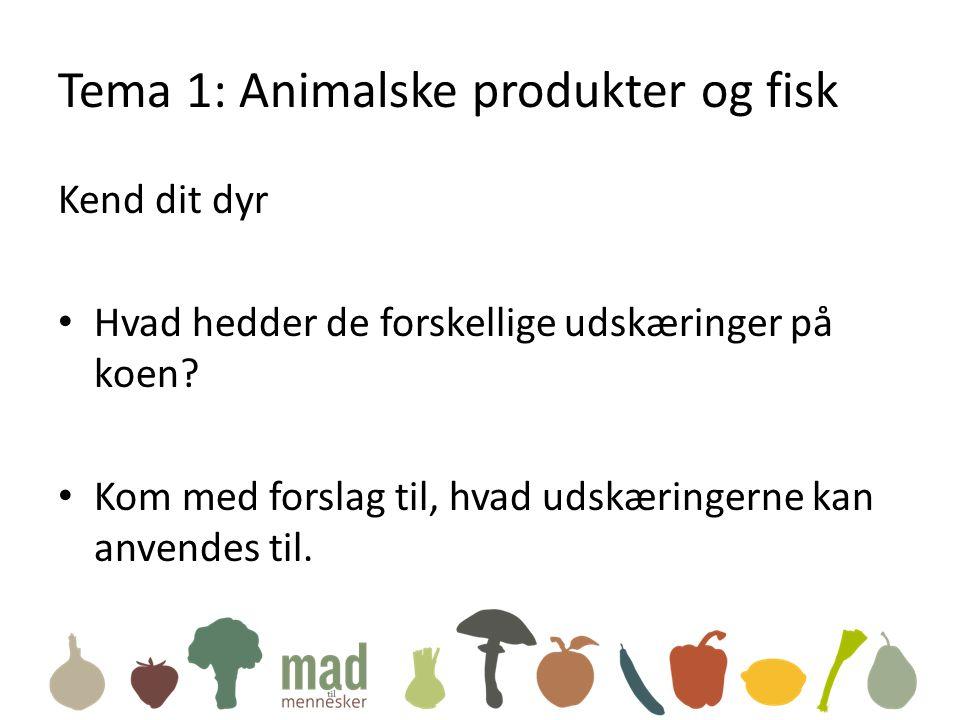 Tema 1: Animalske produkter og fisk Kend dit dyr • Hvad hedder de forskellige udskæringer på koen.