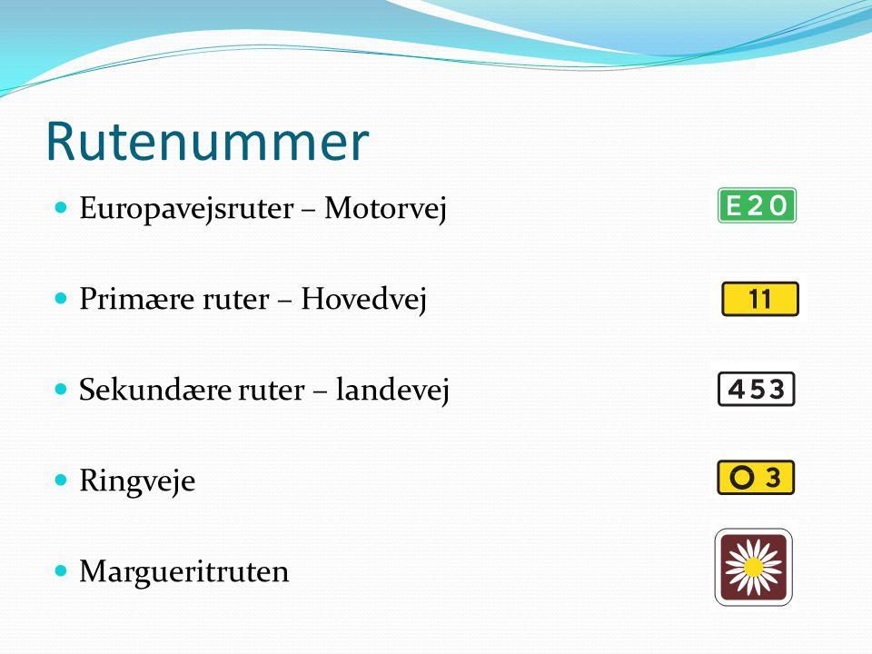 Rutenummer  Europavejsruter – Motorvej  Primære ruter – Hovedvej  Sekundære ruter – landevej  Ringveje  Margueritruten