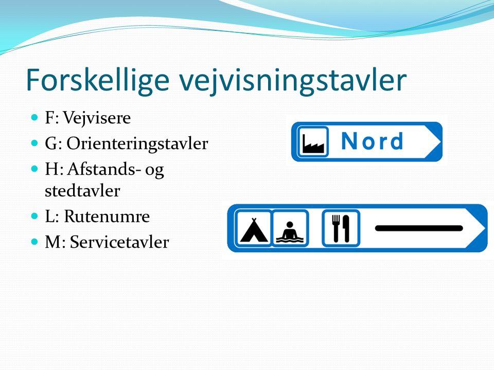 Forskellige vejvisningstavler  F: Vejvisere  G: Orienteringstavler  H: Afstands- og stedtavler  L: Rutenumre  M: Servicetavler