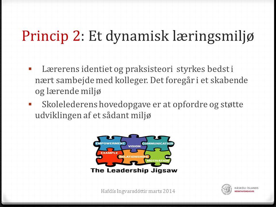 Princip 2: Et dynamisk læringsmiljø  Lærerens identiet og praksisteori styrkes bedst i nært sambejde med kolleger. Det foregår i et skabende og læren