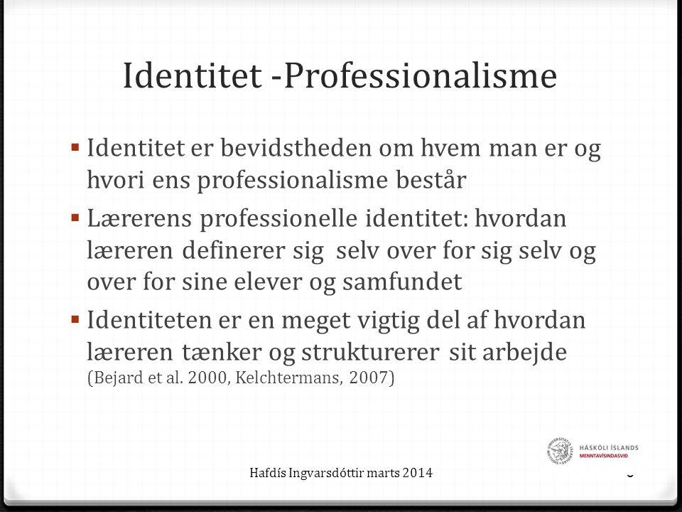 Identitet -Professionalisme  Identitet er bevidstheden om hvem man er og hvori ens professionalisme består  Lærerens professionelle identitet: hvordan læreren definerer sig selv over for sig selv og over for sine elever og samfundet  Identiteten er en meget vigtig del af hvordan læreren tænker og strukturerer sit arbejde (Bejard et al.