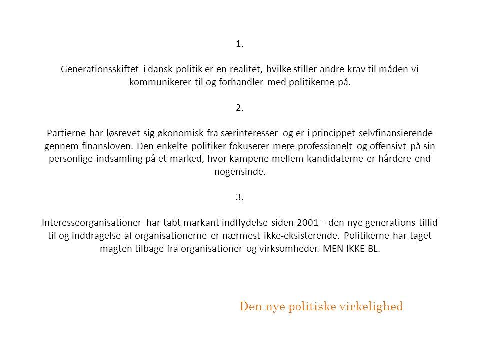 1. Generationsskiftet i dansk politik er en realitet, hvilke stiller andre krav til måden vi kommunikerer til og forhandler med politikerne på. 2. Par
