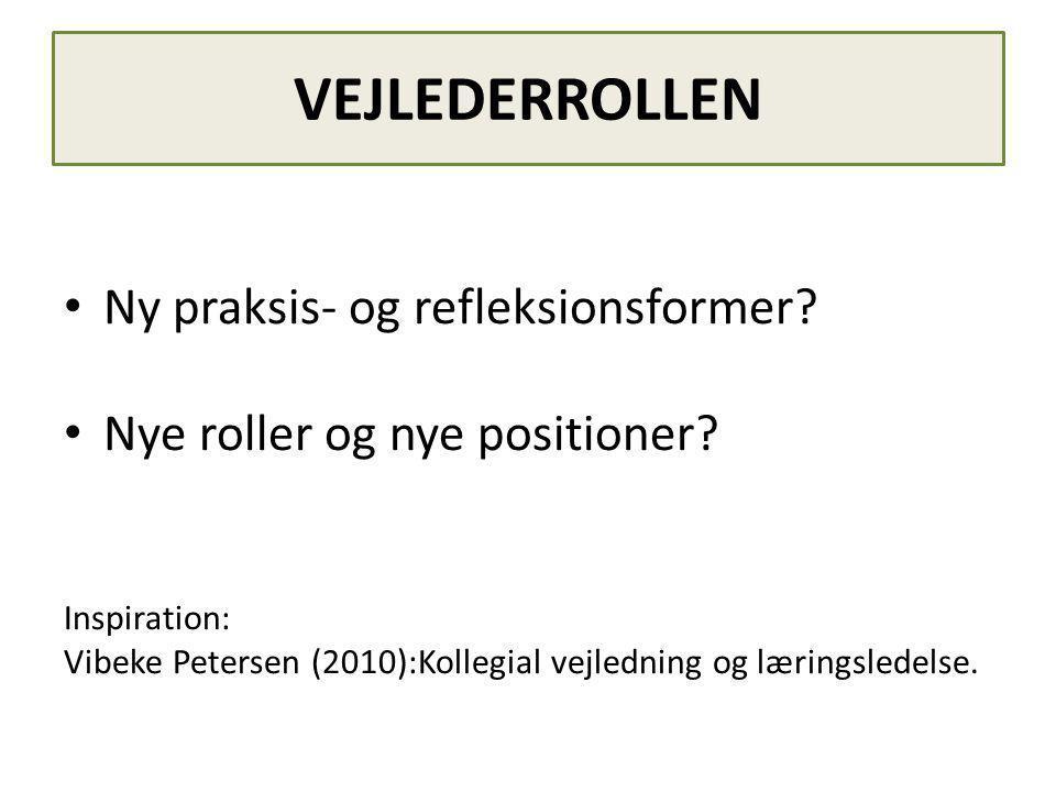 VEJLEDERROLLEN • Ny praksis- og refleksionsformer.