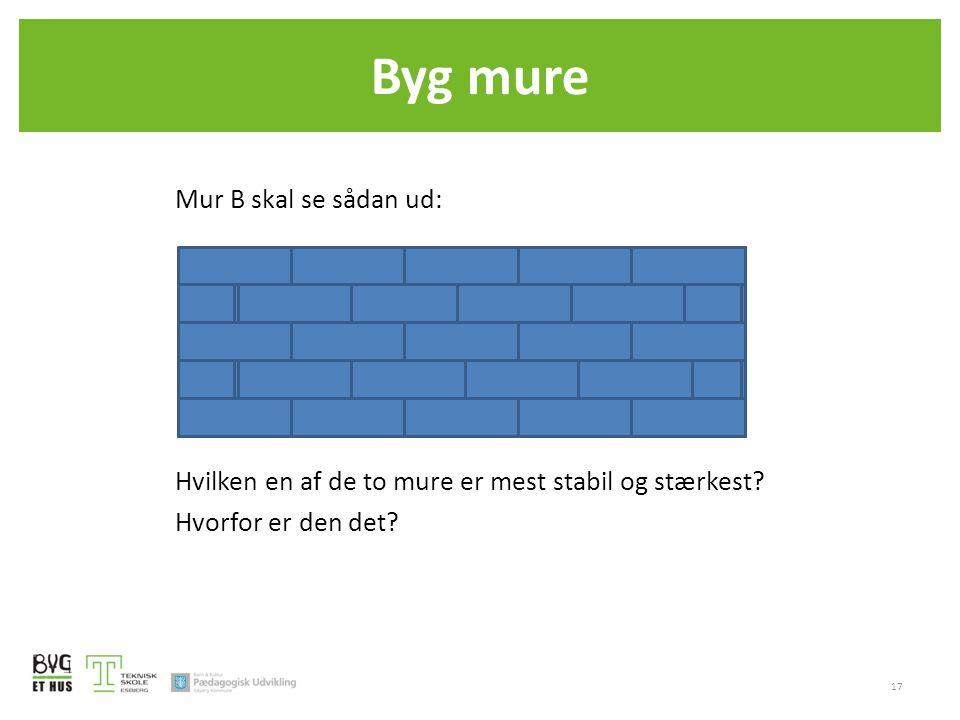 Mur B skal se sådan ud: Hvilken en af de to mure er mest stabil og stærkest? Hvorfor er den det? 17 Byg mure