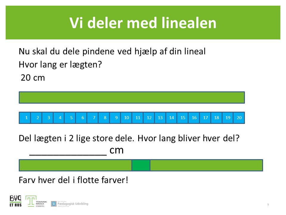 Vi deler med linealen Nu skal du dele pindene ved hjælp af din lineal Hvor lang er lægten? 20 cm Del lægten i 2 lige store dele. Hvor lang bliver hver