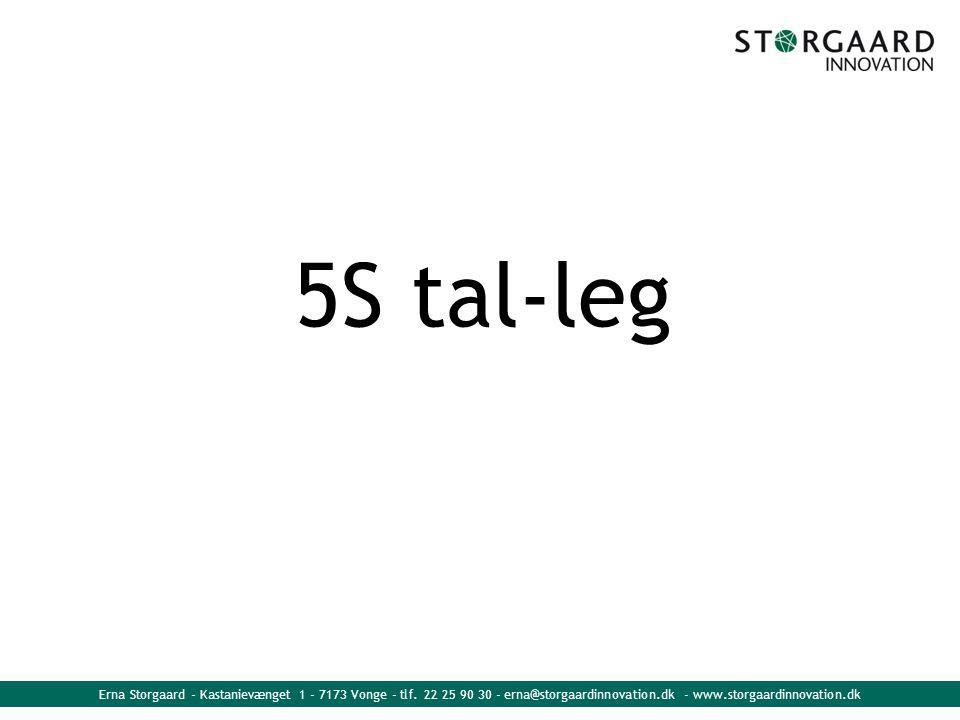 Erna Storgaard - Kastanievænget 1 - 7173 Vonge - tlf. 22 25 90 30 - erna@storgaardinnovation.dk - www.storgaardinnovation.dk 5S tal-leg