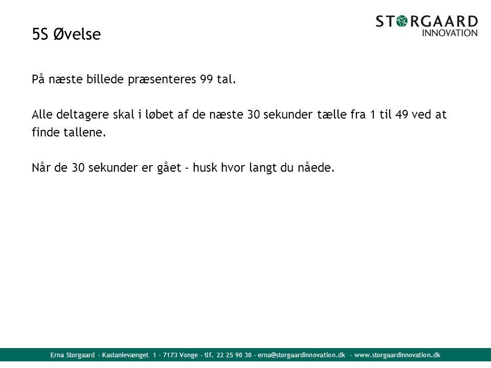 Erna Storgaard - Kastanievænget 1 - 7173 Vonge - tlf. 22 25 90 30 - erna@storgaardinnovation.dk - www.storgaardinnovation.dk 5S Øvelse På næste billed