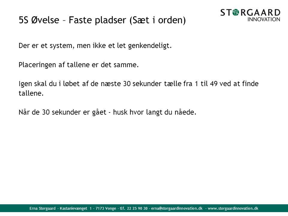 5S Øvelse – Faste pladser (Sæt i orden) Der er et system, men ikke et let genkendeligt. Placeringen af tallene er det samme. Igen skal du i løbet af d