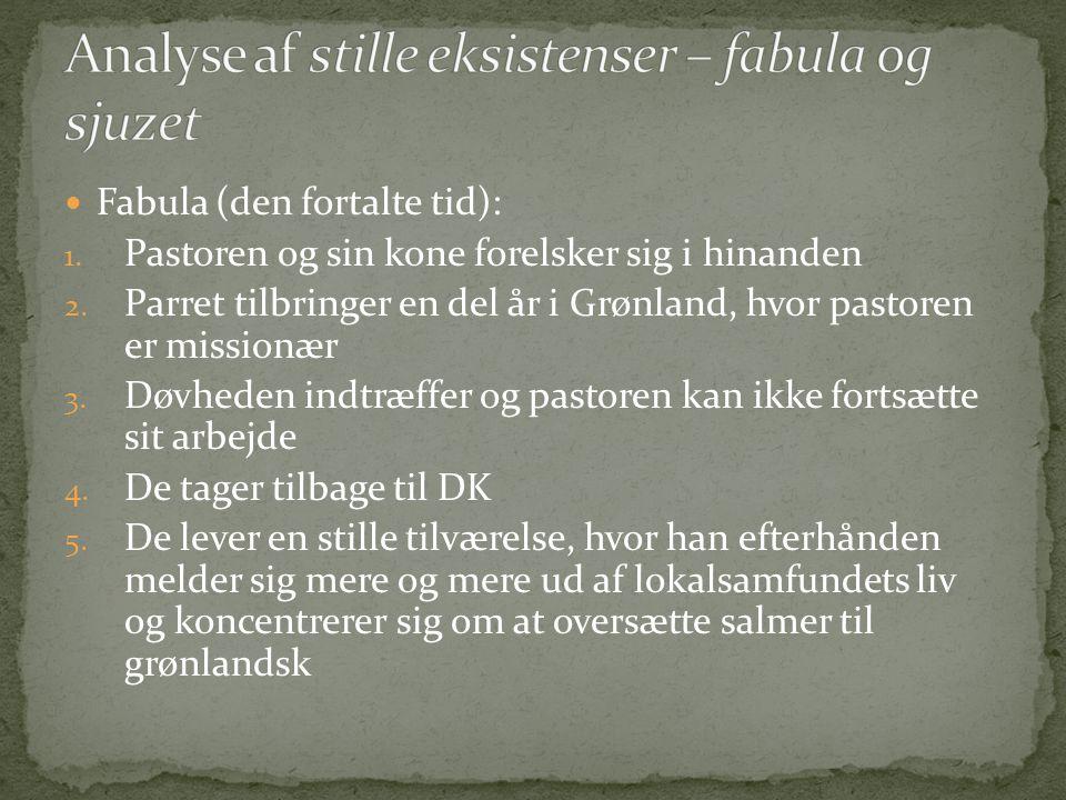  Fabula (den fortalte tid): 1. Pastoren og sin kone forelsker sig i hinanden 2. Parret tilbringer en del år i Grønland, hvor pastoren er missionær 3.