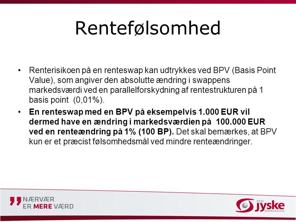 Rentefølsomhed •Renterisikoen på en renteswap kan udtrykkes ved BPV (Basis Point Value), som angiver den absolutte ændring i swappens markedsværdi ved en parallelforskydning af rentestrukturen på 1 basis point (0,01%).