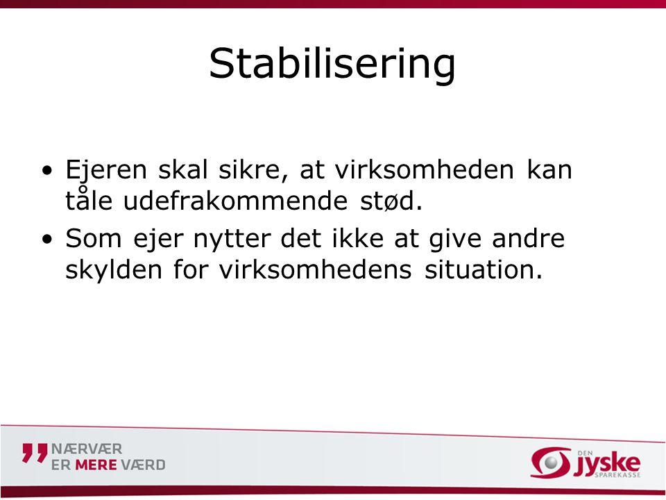 Stabilisering •Ejeren skal sikre, at virksomheden kan tåle udefrakommende stød.