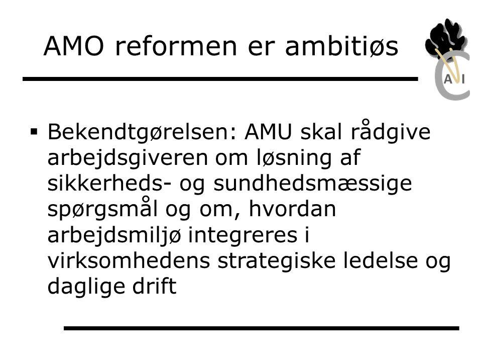 Reformens teori om AMO i virksomheden (min fortolkning)  Samarbejde/konflikt: Fortsat samarbejde mellem parterne, men repræsentanten skal beskyttes  Strategi er virksomhedens styrende program.