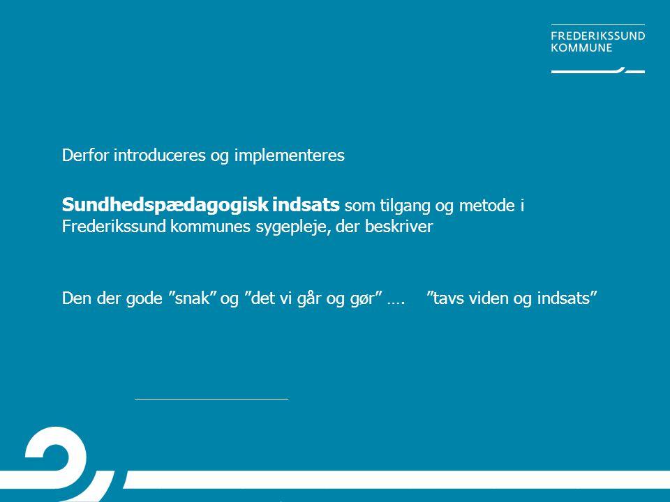 """Derfor introduceres og implementeres Sundhedspædagogisk indsats som tilgang og metode i Frederikssund kommunes sygepleje, der beskriver Den der gode """""""