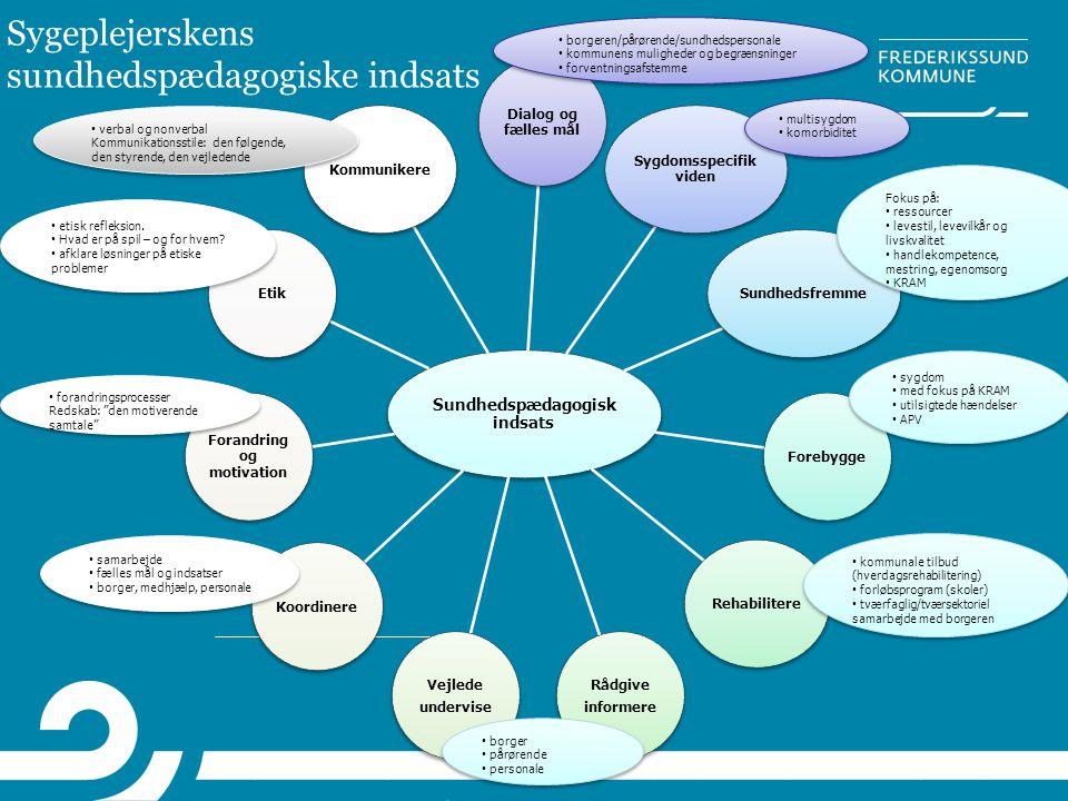 Sygeplejerskens sundhedspædagogiske indsats Sundhedspædagogisk indsats Dialog og fælles mål Sygdomsspecifik viden SundhedsfremmeForebyggeRehabilitere