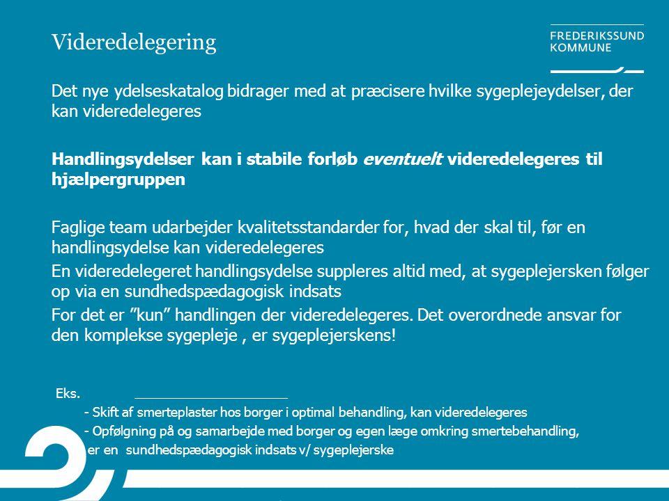Videredelegering Det nye ydelseskatalog bidrager med at præcisere hvilke sygeplejeydelser, der kan videredelegeres Handlingsydelser kan i stabile forl