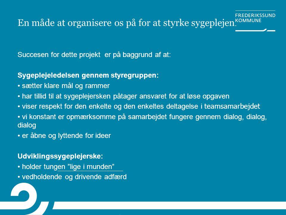 En måde at organisere os på for at styrke sygeplejen. Succesen for dette projekt er på baggrund af at: Sygeplejeledelsen gennem styregruppen: • sætter