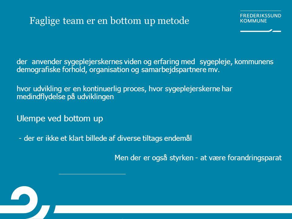 Faglige team er en bottom up metode der anvender sygeplejerskernes viden og erfaring med sygepleje, kommunens demografiske forhold, organisation og sa