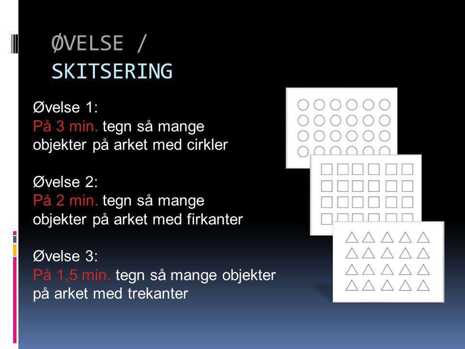 ØVELSE / SKITSERING Øvelse 1: På 3 min. tegn så mange objekter på arket med cirkler Øvelse 2: På 2 min. tegn så mange objekter på arket med firkanter