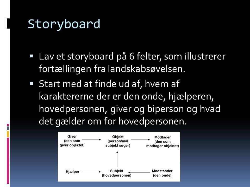 Storyboard  Lav et storyboard på 6 felter, som illustrerer fortællingen fra landskabsøvelsen.  Start med at finde ud af, hvem af karaktererne der er
