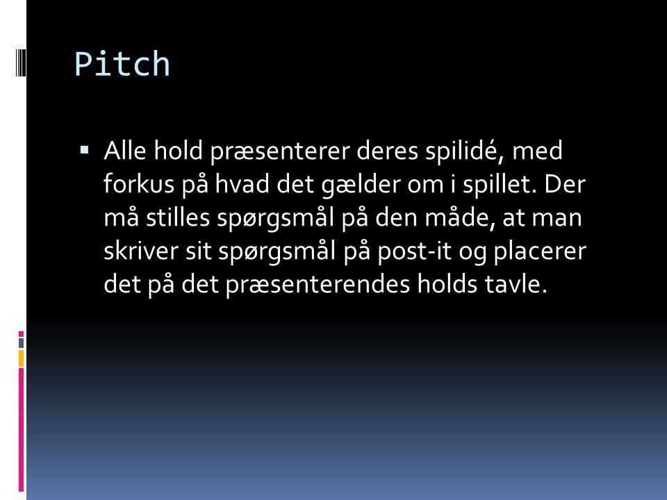 Pitch  Alle hold præsenterer deres spilidé, med forkus på hvad det gælder om i spillet. Der må stilles spørgsmål på den måde, at man skriver sit spør