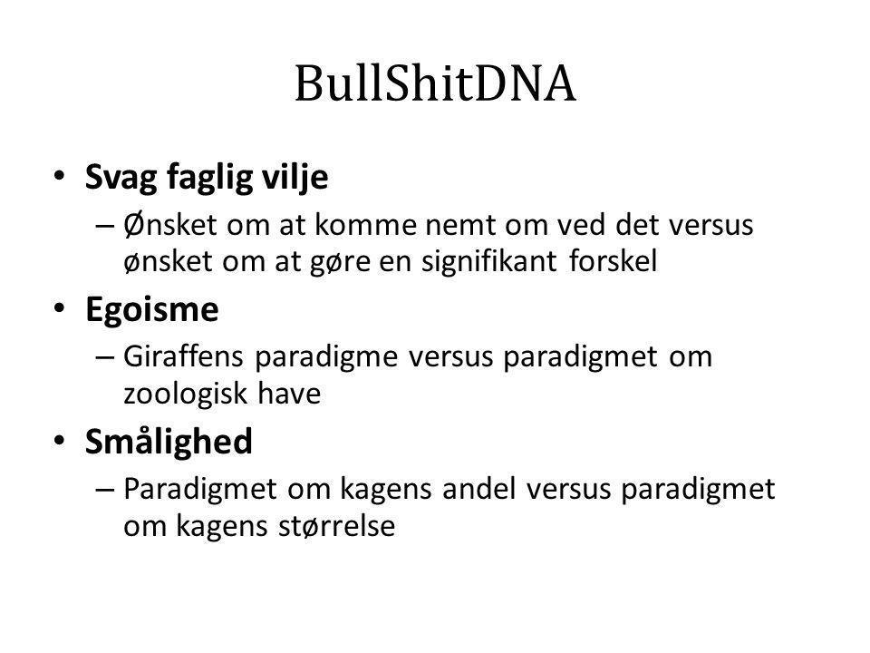 BullShitDNA • Svag faglig vilje – Ønsket om at komme nemt om ved det versus ønsket om at gøre en signifikant forskel • Egoisme – Giraffens paradigme v