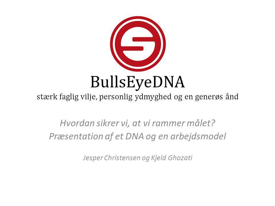 BullsEyeDNA stærk faglig vilje, personlig ydmyghed og en generøs ånd Hvordan sikrer vi, at vi rammer målet? Præsentation af et DNA og en arbejdsmodel