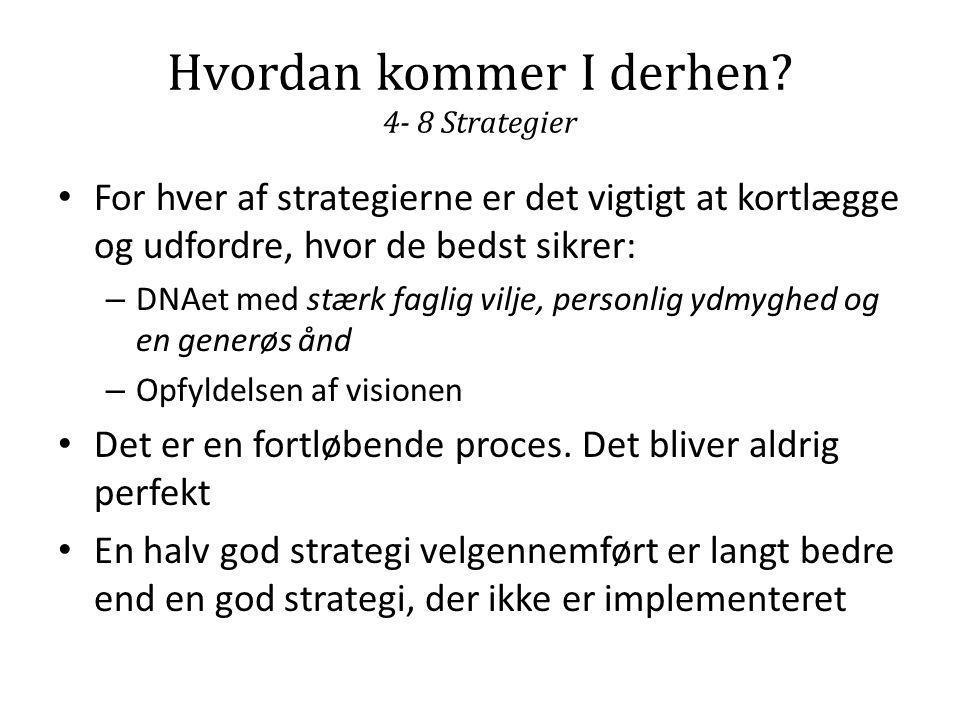 Hvordan kommer I derhen? 4- 8 Strategier • For hver af strategierne er det vigtigt at kortlægge og udfordre, hvor de bedst sikrer: – DNAet med stærk f