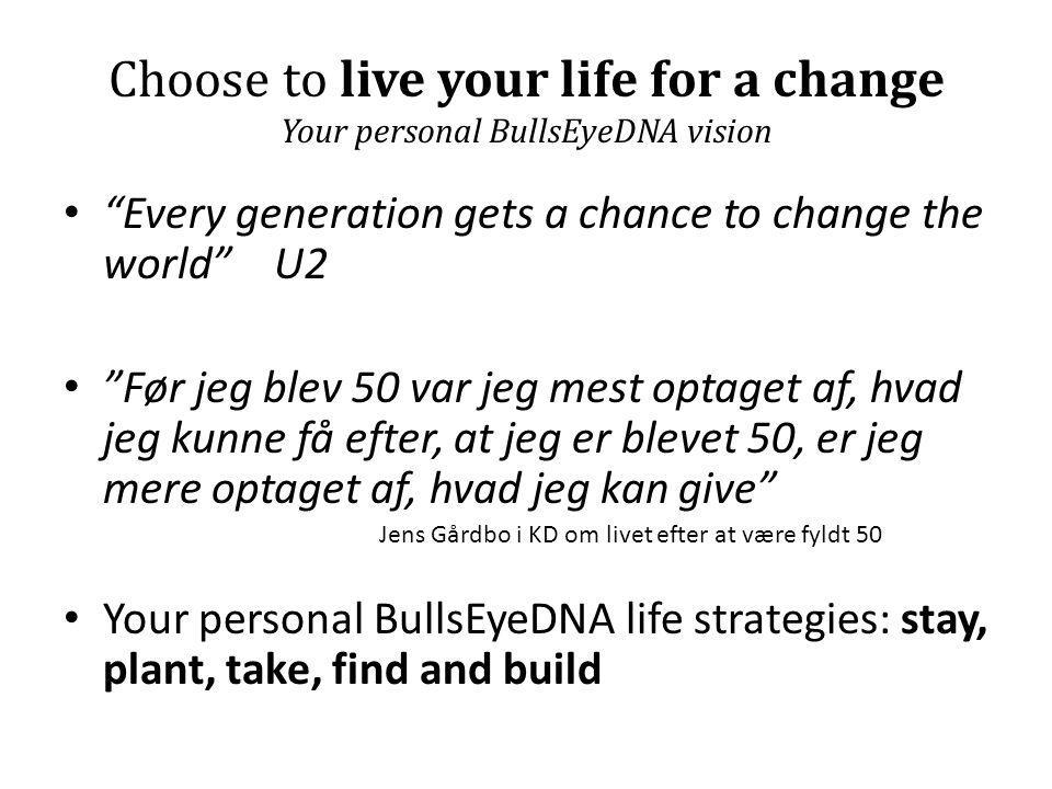 Choose to live your life for a change Your personal BullsEyeDNA vision • Every generation gets a chance to change the world U2 • Før jeg blev 50 var jeg mest optaget af, hvad jeg kunne få efter, at jeg er blevet 50, er jeg mere optaget af, hvad jeg kan give Jens Gårdbo i KD om livet efter at være fyldt 50 • Your personal BullsEyeDNA life strategies: stay, plant, take, find and build