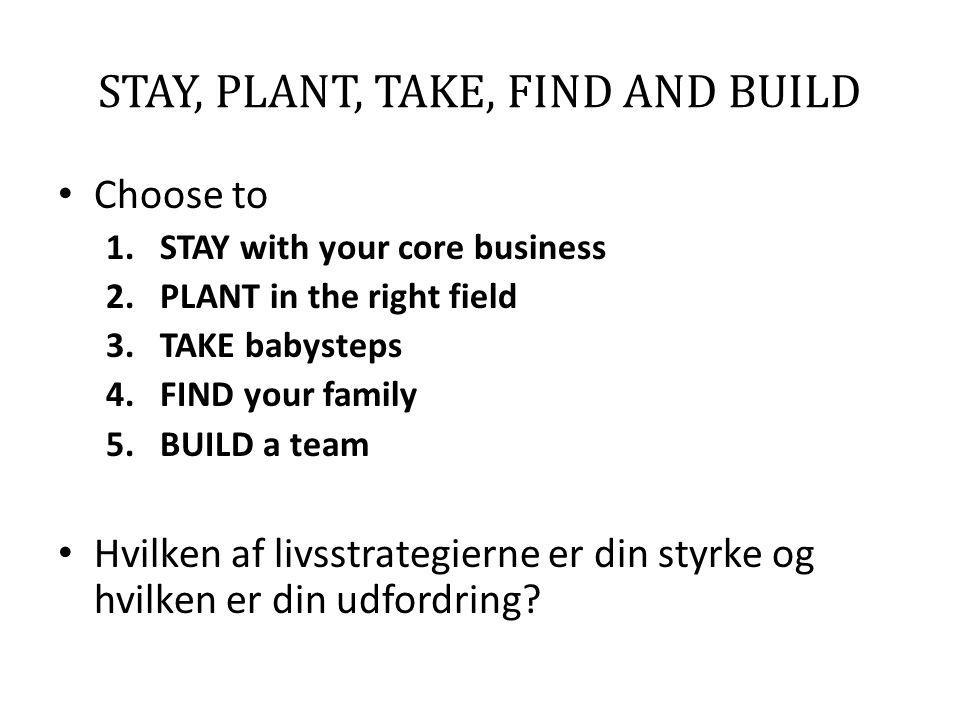 STAY, PLANT, TAKE, FIND AND BUILD • Choose to 1.STAY with your core business 2.PLANT in the right field 3.TAKE babysteps 4.FIND your family 5.BUILD a