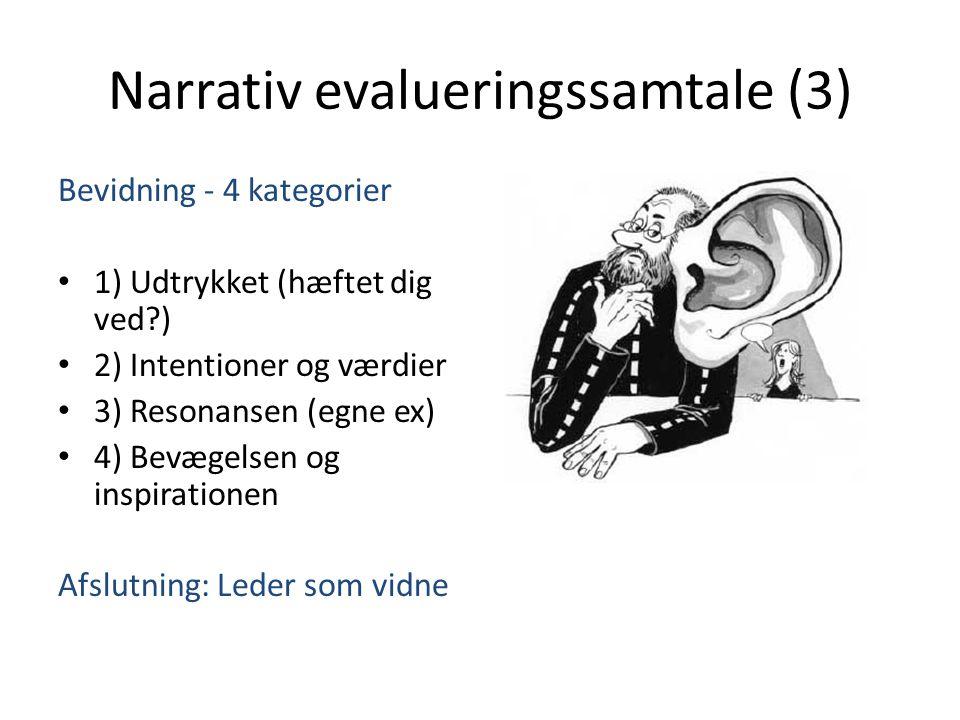 Narrativ evalueringssamtale (3) Bevidning - 4 kategorier • 1) Udtrykket (hæftet dig ved?) • 2) Intentioner og værdier • 3) Resonansen (egne ex) • 4) Bevægelsen og inspirationen Afslutning: Leder som vidne