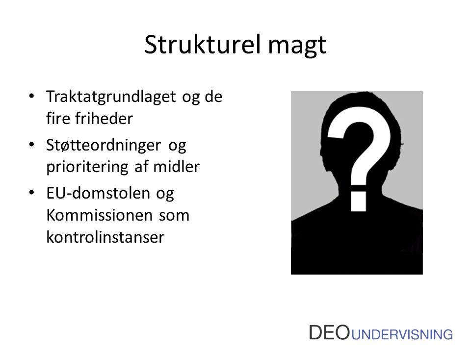 Strukturel magt • Traktatgrundlaget og de fire friheder • Støtteordninger og prioritering af midler • EU-domstolen og Kommissionen som kontrolinstanse