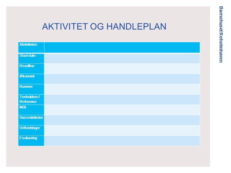 Børnehuset Roholmhaven AKTIVITET OG HANDLEPLAN Aktiviteten: Start dato Deadline Økonomi Ramme Tovholdere / Reference Mål Succeskriterier Udfordringer Evaluering