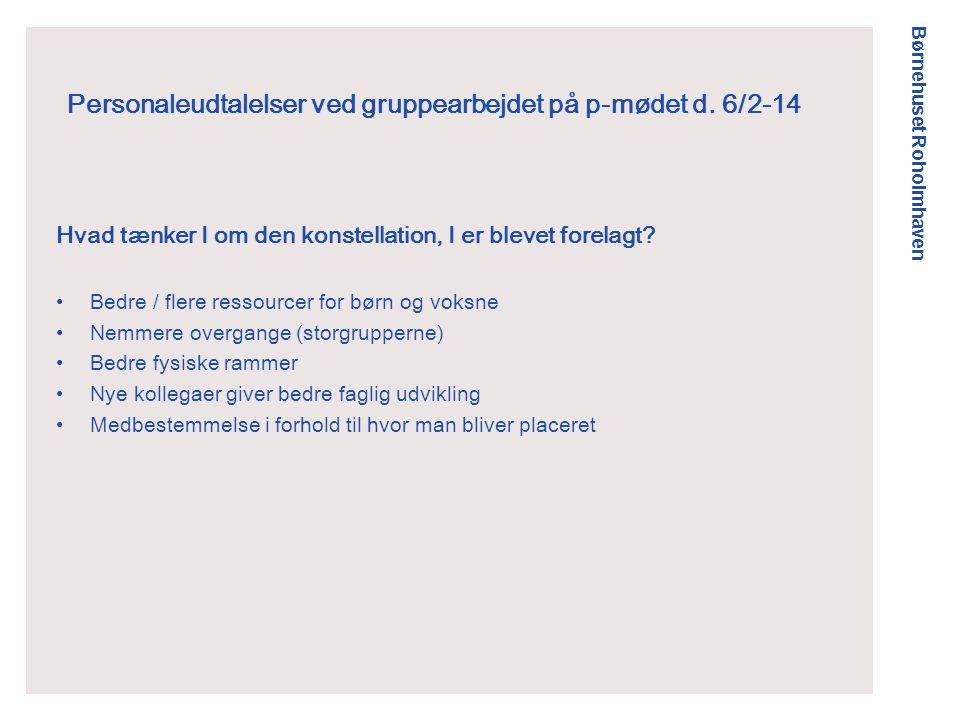 Børnehuset Roholmhaven Personaleudtalelser ved gruppearbejdet på p-mødet d.