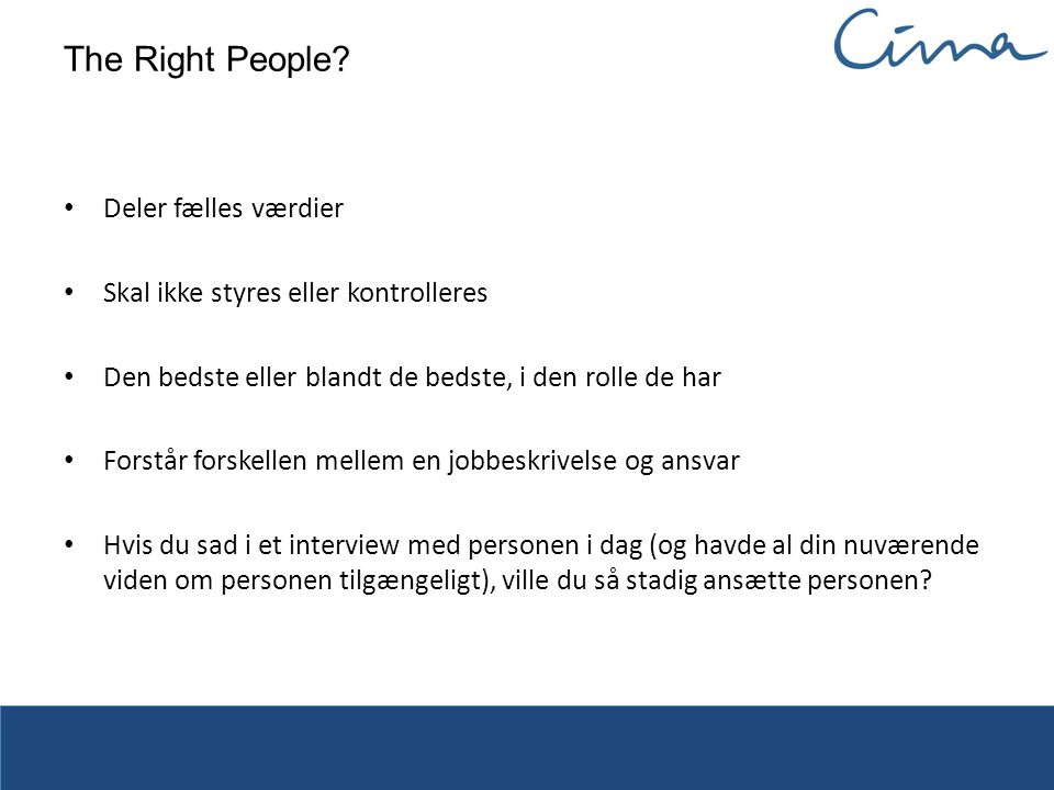 The Right People.