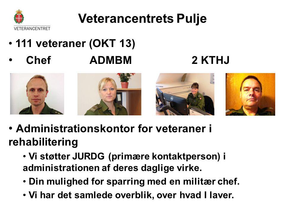 • 111 veteraner (OKT 13) • Chef ADMBM 2 KTHJ • Administrationskontor for veteraner i rehabilitering • Vi støtter JURDG (primære kontaktperson) i admin